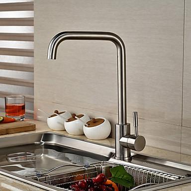 Nykyaikainen Art Deco/Retro Moderni Standard nokka Pesuallas Pyörivä Keraaminen venttiili Yksi kahva yksi reikä Ruostumaton teräs,