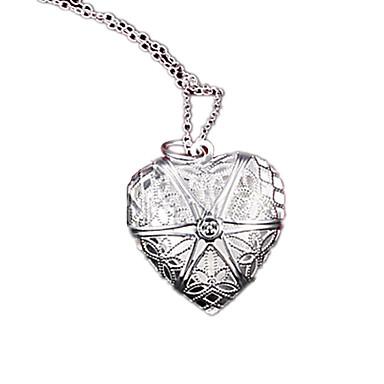 Damen versilbert Medaillon Halskette  -  Modisch Silber Modische Halsketten Für Party Alltag