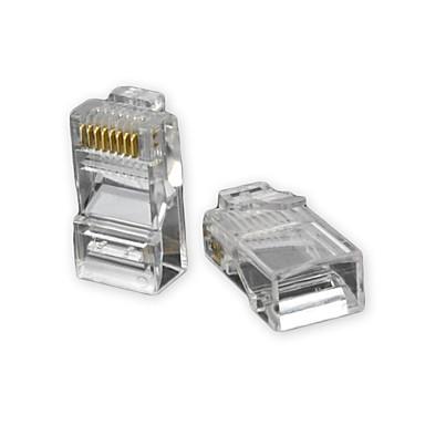 RJ45 8 pini ABS Modular Plug Connector transparent 50 buc