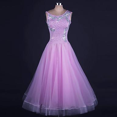 ボールルームダンス ドレス 女性用 性能 オーガンザ / ライクラ ビーズ ノースリーブ ナチュラルウエスト ドレス