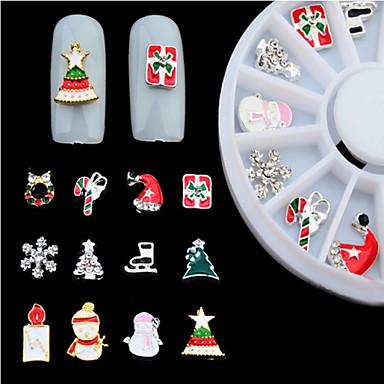 New 3d Alloy Christmas Design Nail Art Decoration Wheel Glitter Rhinestone Manicure Nail Supplies Tools