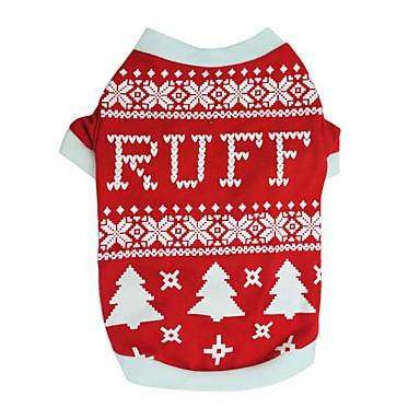 犬用品 Tシャツ 犬用ウェア 冬 夏 スノーフレーク柄 キュート ファッション クリスマス ブラック レッド