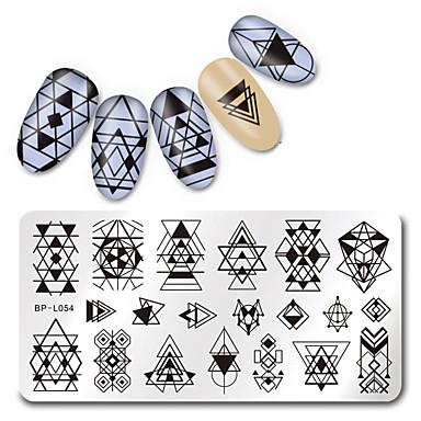 1 pcs Estampado de placa Modelo arte de uñas Manicura pedicura Moda Diario / Placa de estampado / Acero
