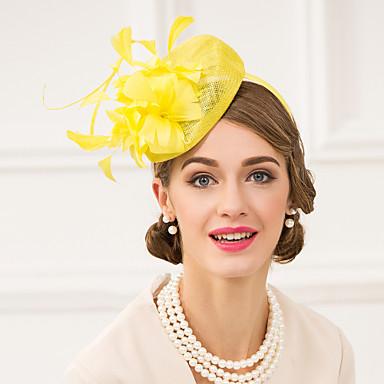 fascinators de la pluma del lino sombreros headpiece estilo femenino clásico