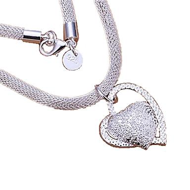 Жен. Сердце Стерлинговое серебро Ожерелья с подвесками Заявление ожерелья - Стерлинговое серебро Любовь Сердце Сердце Ожерелье