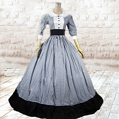 Medieval Victorian Costume Women's Dress Masquerade Party Costume Vintage Cosplay Cotton Long Length