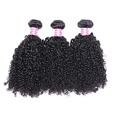 Gerçek Saç Düz Brezilya Saçı İnsan saç örgüleri Kinky Curly Kıvırcık Dalgalar Saç uzatma 3 Parça Siyah