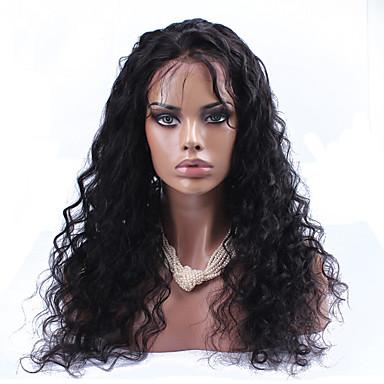 Naisten Aitohiusperuukit verkolla Aidot hiukset Full Lace Liimaton kokoverkko 120% Tiheys Löysä laine Peruukki Musta Lyhyt Keskikokoinen