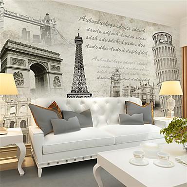 Art Deco 3D Hjem Dekor Retro Rød Tapetsering, Lerret Materiale selvklebende nødvendig Veggmaleri, Tapet
