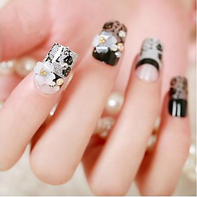 花嫁の爪偽の爪のネイル製品の24個は、黒いレースの花偽の釘を終えました