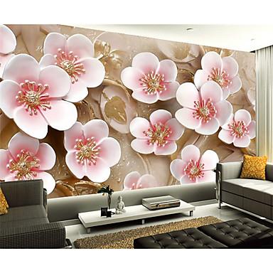 Kukka Art Deco 3D Kodinsisustus Nykyaikainen Seinäpinnat, Kangas materiaali liima tarvitaan Seinämaalaus, huoneen Tapetit