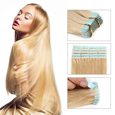 Ilości 30-50g / paczka 16-24inch taśma przedłużenie ludzkiego włosa brazylijski nr 24 taśma w ludzkich włosów rozszerzeniach 002