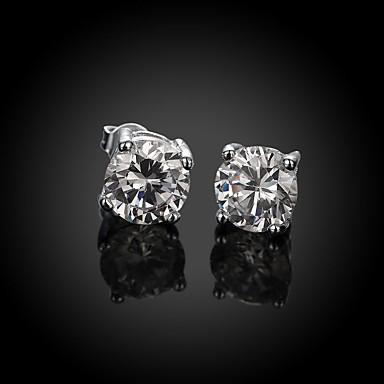 Dame Zirkonium / Kubisk Zirkonium / Sølvplett Øredobber - Sølv Sirkelformet / Geometrisk Form øredobber Til Bryllup / Fest / Daglig