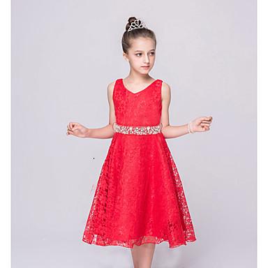 رخيصةأون ملابس الأميرات-فستان بدون كم لون سادة مناسب للخارج للفتيات أطفال