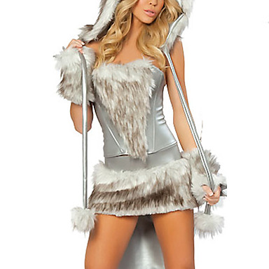 Wolf Cosplay Kostüme Party Kostüme Damen Halloween Karneval Silvester Fest / Feiertage Halloween Kostüme Silber + grau Patchwork