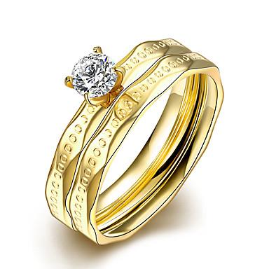 Ring Kubikzirkonia Doppelschicht Europäisch Stahl Gold Schmuck Für Normal 1 Set