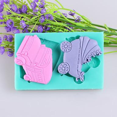 araba ve bebek arabaları kek çikolata silikon kalıp, dekorasyon araçları bakeware fondant