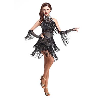 Latein-Tanz Kleider Damen Leistung Elasthan Paillette Quaste Ärmellos Hoch Kleid