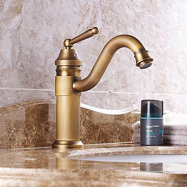 Moderne Art Deco/Retro Udspredt Forskyll Foss Utbredt Keramisk Ventil Enkelt håndtak To Huller Antikk Kobber, Baderom Sink Tappekran