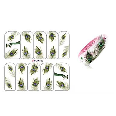 10PCS Peacock Feathers Design Nail Art Sticker BOP/300