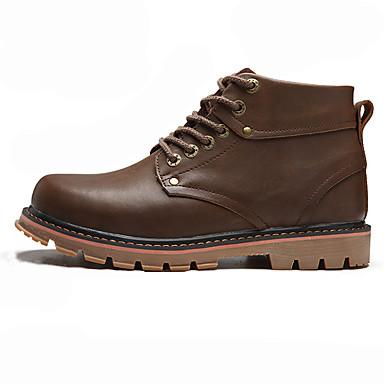 Miesten kengät PU Kevät Syksy Maiharit Comfort Bootsit Kävely Solmittavat varten Kausaliteetti Musta Tumman ruskea Vaalean ruskea