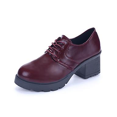 Naiset Bootsit Maiharit PU Kevät Kesä Syksy Talvi Kausaliteetti Kävely Maiharit Solmittavat Leveä korko Platform Block Heel Musta Burgundi