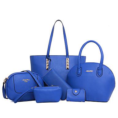 女性 バッグ オールシーズン PU バッグセット 6個の財布セット のために カジュアル ブラック ベージュ フクシャ レッド ネービーブルー