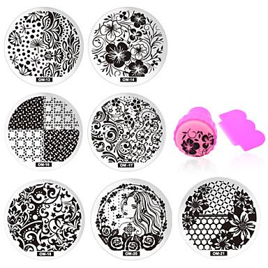 11 pcs Negle Smykker Stampplate Neglekunst Manikyr pedikyr Daglig Blomst / Mote / stempling Plate / Nail Smykker / Metall