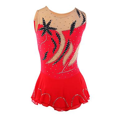 Eiskunstlaufkleid Damen Mädchen Eislaufen Kleider Rot Strass Leistung Eiskunstlaufkleidung Handgemacht Klassisch Ärmellos Eislaufen