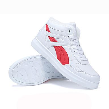Cordón Dedo Plano Invierno Confort Mujer Blanco 05494585 blanco Paseo Con de redondo Zapatillas Negro Tacón Blanco PU deporte Zapatos Rojo OCwxwqp