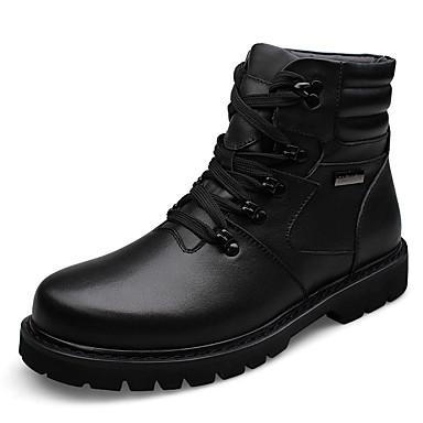 Bootsit-Tasapohja-Miesten-Nahka-Musta-Rento-Comfort