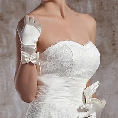 Handgelenk-Länge Fingerspitzen Handschuh Elastischer Satin Brauthandschuhe Party / Abendhandschuhe Frühling Sommer Herbst Winter Schleife