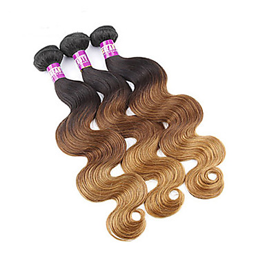 Peruvian Hair Body Wave Human Hair Weaves 3 Pieces 0.3