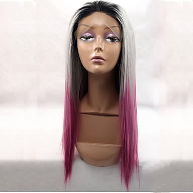 Syntetiske parykker Rett Lyserød Blonde Forside Naturlig parykk Syntetisk hår