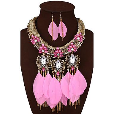 Damen Luxus Schmuck mit Aussage Hochzeit Party Alltag Synthetische Edelsteine Aleación Feder 1 Halskette 1 Paar Ohrringe