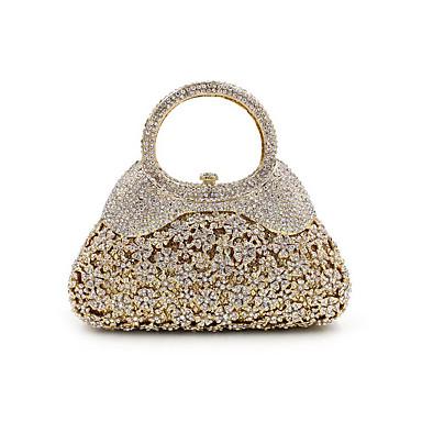 Mujer Bolsos Metal Bolso de Noche Cristal / Cristal Estampado Floral Dorado / Bolsos de noche de cristal de diamantes de imitación / Bolsos de noche de cristal de diamantes de imitación