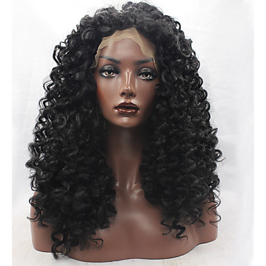 Peluca Lace Front Sintéticas Kinky Curly Pelo sintético Entradas Naturales Negro Peluca Mujer Encaje Frontal