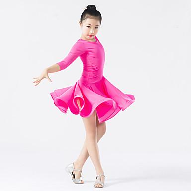الرقص اللاتيني الفساتين أداء بوليستر / سباندكس ثنيات / كشكش كم طويل ارتفاع متوسط فستان