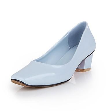 Damen-High Heels-Outddor Büro Kleid-Lackleder-Blockabsatz-Komfort-Schwarz Blau Weiß Pfirsich