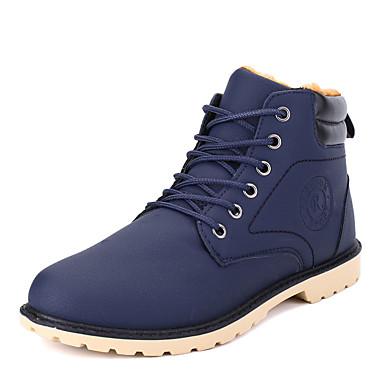 男性用 靴 PUレザー 冬 コンフォートシューズ / コンバットブーツ ブーツ ブラック / ブルー / ダークブラウン