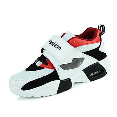 رجالي أحذية الراحة PU الربيع / الخريف أحذية رياضية يمكن ارتداؤها أبيض / أسود / أحمر / دانتيل