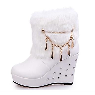 Damen Stiefel Komfort Springerstiefel PU Herbst Winter Normal Komfort Springerstiefel Keilabsatz Weiß Schwarz 7,5 - 9,5 cm