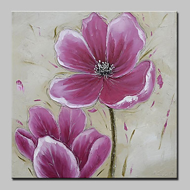 Handgemalte Blumenmuster/Botanisch Quadratisch, Europäischer Stil Modern Segeltuch Hang-Ölgemälde Haus Dekoration Ein Panel