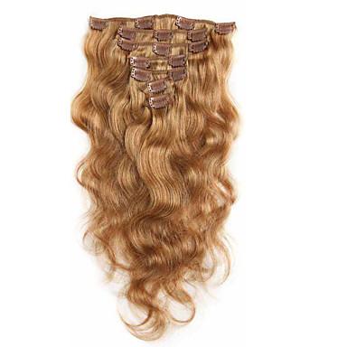 お買い得  人毛エクステンション-Clip In 人間の髪の拡張機能 ウェーブ バージンヘア 人毛エクステンション 女性用 ストロベリーブロンド
