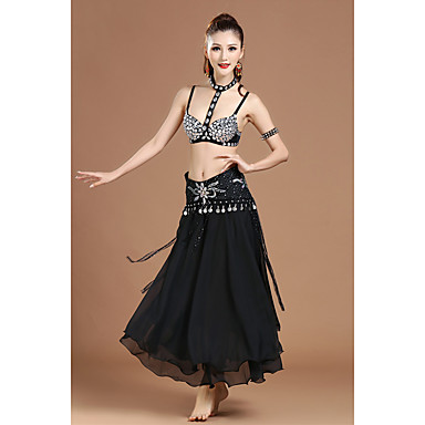 Werden wir Bauchtanz Outfits Frauen Polyester Kristalle / Strass Rüschen schwarz
