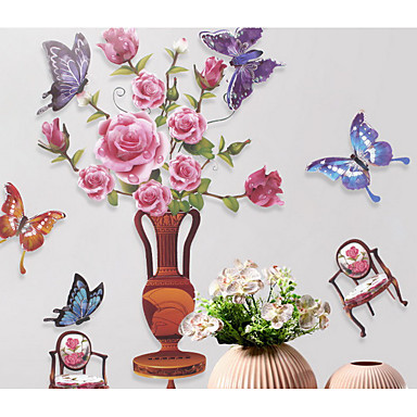 Kukkakuviot Wall Tarrat Lentokone-seinätarrat Koriste-seinätarrat,Vinyyli materiaali Kodinsisustus Seinätarra
