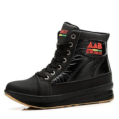 Damen-Stiefel-Lässig-PU-Flacher Absatz-Komfort-Schwarz Rot Weiß