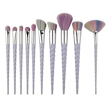 10pçs Pincéis de maquiagem Profissional Conjuntos de pincel / Pincel para Blush / Pincel para Sombra Pêlo Sintético / Escova de Fibra