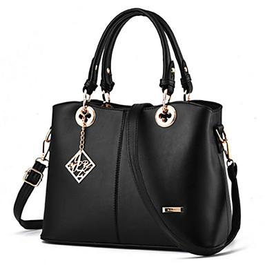 Women's Bags PU(Polyurethane) Tote Rivet Black / Fuchsia / Wine