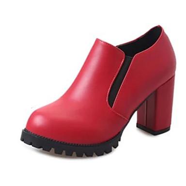 Damen-High Heels-Büro Kleid Lässig-PU-Blockabsatz-Komfort-Schwarz Rot